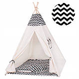 Детская палатка (вигвам) Springos Tipi XXL TIP02 White/Black, фото 3