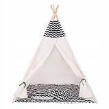 Детская палатка (вигвам) Springos Tipi XXL TIP02 White/Black, фото 10
