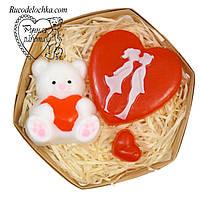 Мыло мишка с сердцем,  сердце Пара, сердечко, 14 февраля, подарок любимой, ручная работа, Валентинка