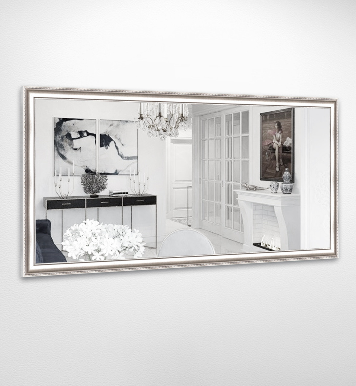 Настенное зеркало БЦ Стол Камилла прямоугольное B01 белое золото