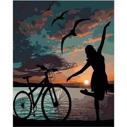 """KMVA-1837 Набор для росписи по номерам  """"Ночная велопрогулка"""", размером 40х50 см, фото 2"""