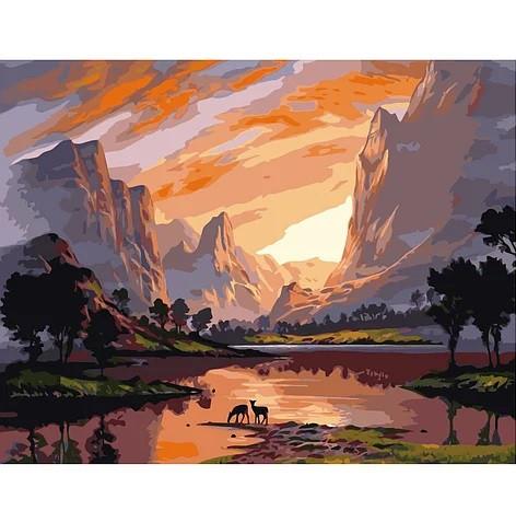 """KMVA-2126 Набор для росписи по номерам  """"Закат в горах"""", размером 40х50 см"""