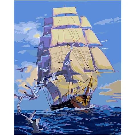 """KMVA-0021 Набор для росписи по номерам  """"Корабль с белыми парусами"""", размером 40х50 см"""