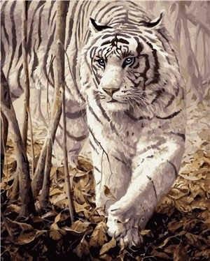 """KMVA-0238 Набор для росписи по номерам  """"Белый тигр"""", размером 40х50 см"""