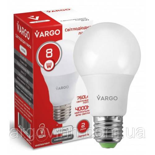 LED лампа VARGO A60 8W 4000K E27 220V (V-111140)