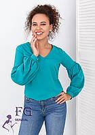 "Блуза с объемным рукавом ""Adel"" Морская волна, 42, фото 1"