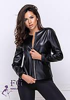 """Демисезонная куртка из экокожи """"Karo"""" 42, черный, фото 1"""