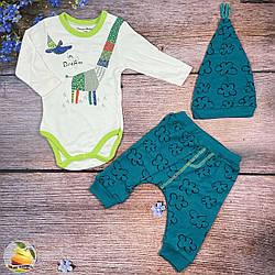 Бодік штанці і шапочка для малюка Розміри: 3,6,9 місяців (01426)