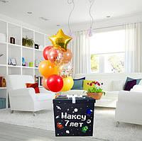 """Коробка-сюрприз 70х70см с Гелиевыми шарами в тематике """"АМОНГ АС""""+ наклейки+композиция из шаров+декор"""