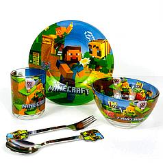 Набор детский стеклянной посуды для кормления Minecraft (Майнкрафт) 5 предметов Metr+