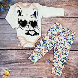 """Дитячий боді і штанці """"Зайка"""" Розміри: 3,6,9,12 місяців (01429-1)"""