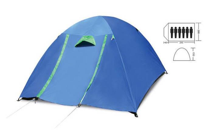 Палатка кемпинговая 6-и местная с тентом и коридором SY-017 (р-р 2,2х2,5х1,5м, PL), фото 2
