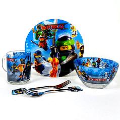 Набор детский стеклянной посуды для кормления Ninjago ( Ниндзяго) 5 предметов Metr+