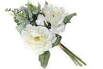 Декоративный букет Роз, 35см, цвет - белый