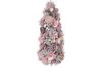 Елка новогодняя с декором из шишек, ягод и цветов, 38см, цвет - розовый