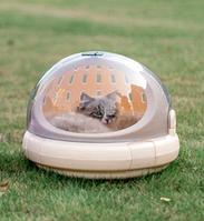 Контейнер-переноска и лежак 2в1 для домашних животных (кошек, собак, кроликов) 42х35 см беж