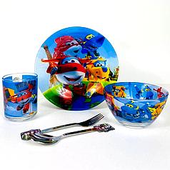 Детский набор стеклянной посуды для кормления Самолёты 5 предметов Metr+