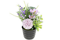 Декоративные цветы в горшочке, 22см, цвет - лиловый
