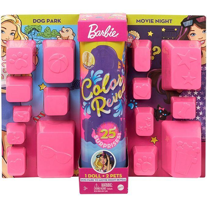 Кукла Барби Колор Ревил Цветное перевоплощение Barbie Color Reveal 25 сюрпризов День Ночь - прогулка со щенком