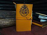 Кожаный блокнот Harry Potter,  Блокнот Гарри Поттер,  эмблема Хогвартс. (ручка из бамбука в подарок), фото 2