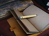 Кожаный блокнот Harry Potter,  Блокнот Гарри Поттер,  эмблема Хогвартс. (ручка из бамбука в подарок), фото 5