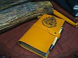 Кожаный блокнот Harry Potter,  Блокнот Гарри Поттер,  эмблема Хогвартс. (ручка из бамбука в подарок), фото 7