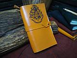 Кожаный блокнот Harry Potter,  Блокнот Гарри Поттер,  эмблема Хогвартс. (ручка из бамбука в подарок), фото 4