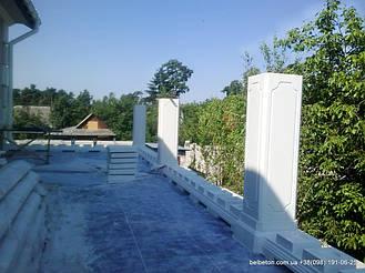 В данной работе использована бетонная балясина, модели В0, она не нуждается в шпаклевке и покраске. Срок службы   изделий  не менее 25 лет под открытым небом. Наши балясины и балюстрады обладают высокой прочностью и плотность.