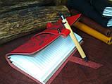 Кожаный блокнот,  красный блокнот,  Блокнот с цветами, фото 5
