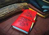 Кожаный блокнот,  красный блокнот,  Блокнот с цветами, фото 4
