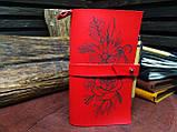 Кожаный блокнот,  красный блокнот,  Блокнот с цветами, фото 3