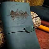 Кожаный тёмно-зеленый блокнот,  гравировка и подарочная коробка в подарок!, фото 5