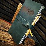 Кожаный тёмно-зеленый блокнот,  гравировка и подарочная коробка в подарок!, фото 4