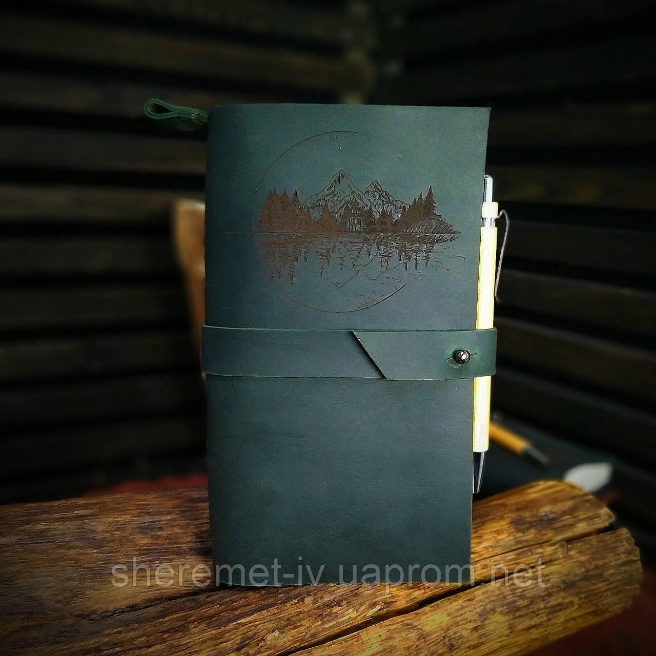Кожаный тёмно-зеленый блокнот,  гравировка и подарочная коробка в подарок!