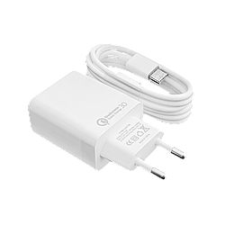 Быстрое зарядное устройство LP AC-009 USB 5V 3А Quick Charge + кабель Type-C/OEM 1 м White