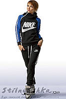 Зимний женский теплый спортивный костюм Nike индиго с черным, фото 1
