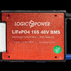 BMS плата LiFePO4 48V 16S 60A симметрия