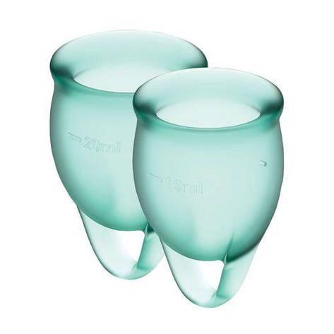 Набор менструальных чаш Satisfyer Feel Confident (dark green), 15мл и 20мл, мешочек для хранения, фото 2