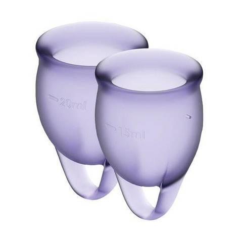 Набор менструальных чаш Satisfyer Feel Confident (lila), 15мл и 20мл, мешочек для хранения, фото 2