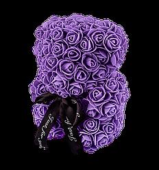 Мишко з 3D троянд 25 см фіолетовий
