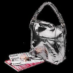 Шкіряна жіноча сумка Realer 2032-1 античне срібло