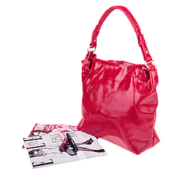Кожаная женская сумка Realer 2032-1 красная