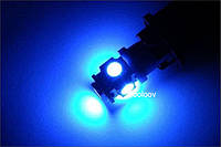2шт - BA9S 5 LED лампа, Синий цвет (2 шт.) габариты, повороты подсветка