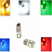 2шт - BA9S 5 LED лампа, Зеленый цвет (2 шт.) габариты, повороты подсветка