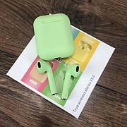 Беспроводные bluetooth наушники inPods 12 с микрофоном для пк телефона wireless вкладыши блютуз зеленые
