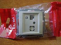 Розетка компьютерная одинарная (Сат6) без рамки EL-BI, ZENAбелая