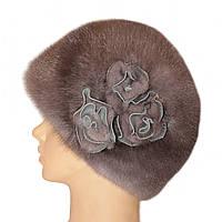 """Норковая шапка """"Конфетка, 3 розы"""" (серо-голубой)"""