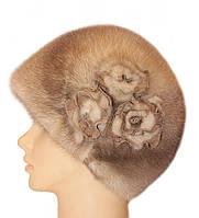 """Норковая шапка """"Конфетка, 3 розы"""" (колотый лед)"""