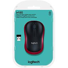 Миша бездротова USB Logitech M185 Wireless Mouse (910-002240) чорн.+червона нова