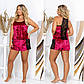 """Женская пижама с шортами в больших размерах 734 """"Велюр Кружево Контраст"""" в расцветках, фото 3"""